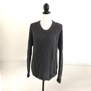Madewell Classic Cable Knit Pullover Large Sweater